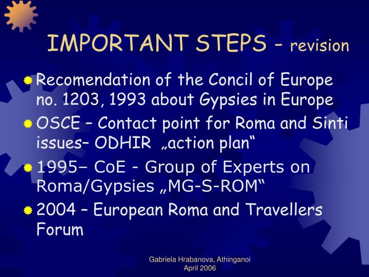 IMPORTANT STEPS -