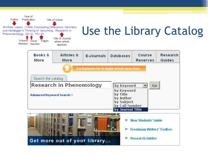 Use the Library Catalog
