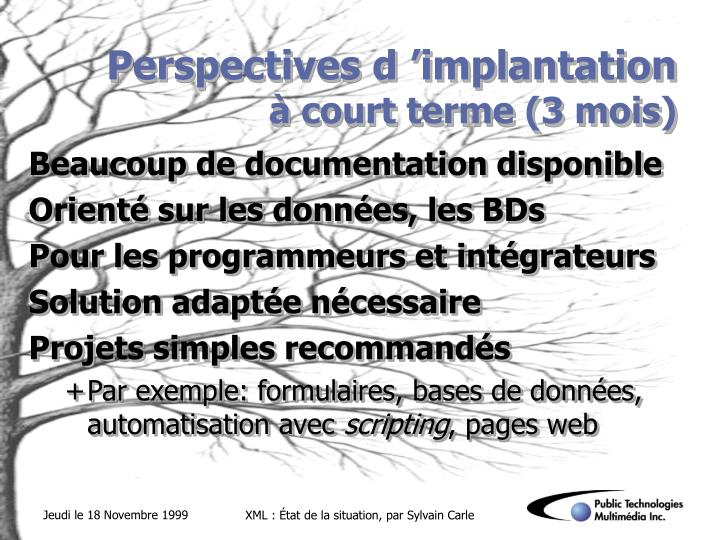 Perspectives d 'implantation