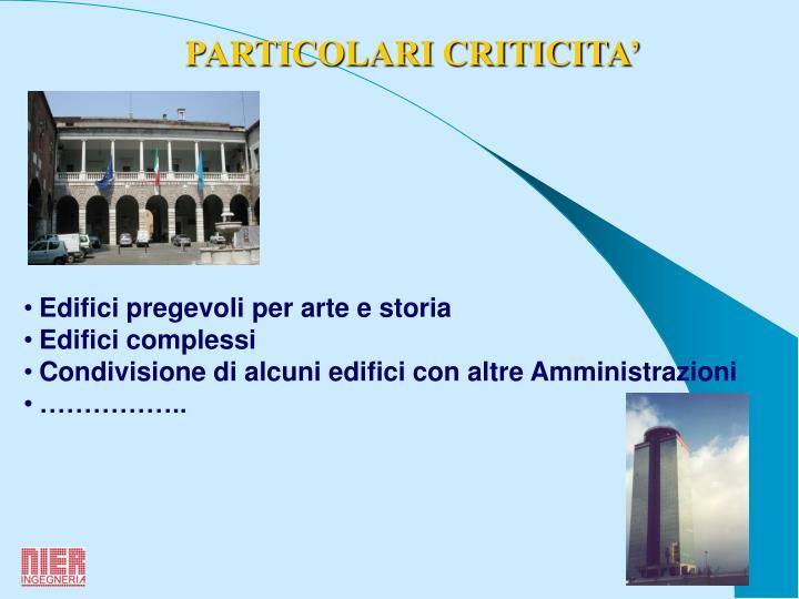PARTICOLARI CRITICITA'