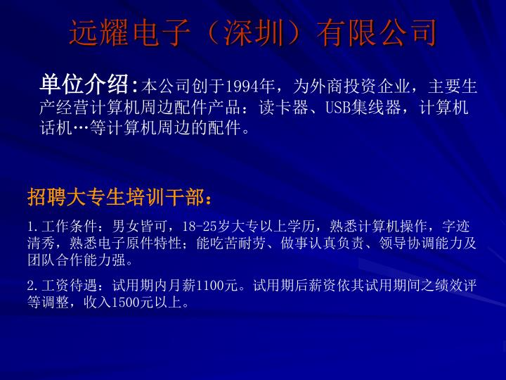 远耀电子(深圳)有限公司