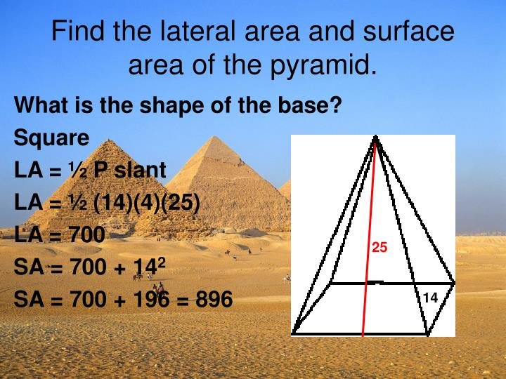 Find the lateral area and surface area of the pyramid.