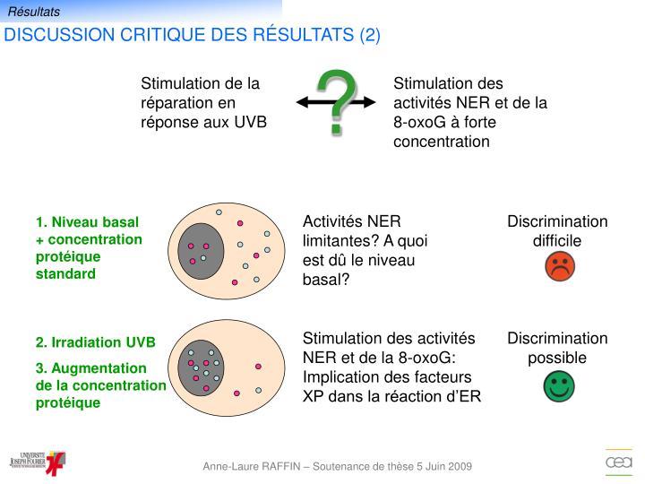 Activités NER limitantes? A quoi  est dû le niveau basal?