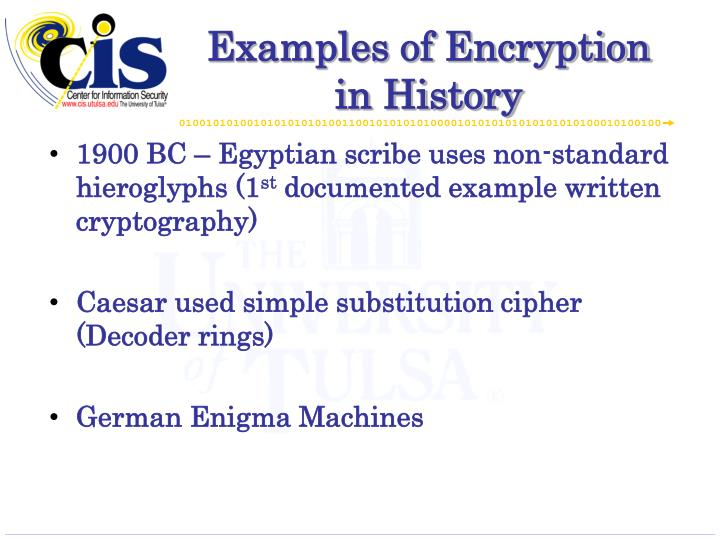 Examples of Encryption