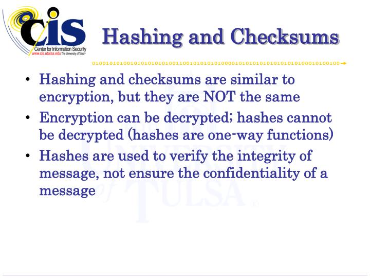 Hashing and Checksums