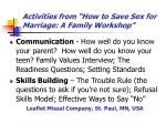 activities from how to save sex for marriage a family workshop