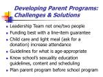 developing parent programs challenges solutions
