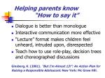 helping parents know how to say it
