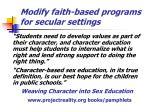 modify faith based programs for secular settings