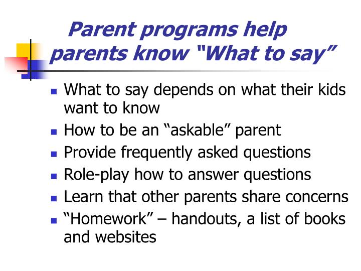 "Parent programs help parents know ""What to say"""