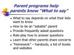 parent programs help parents know what to say