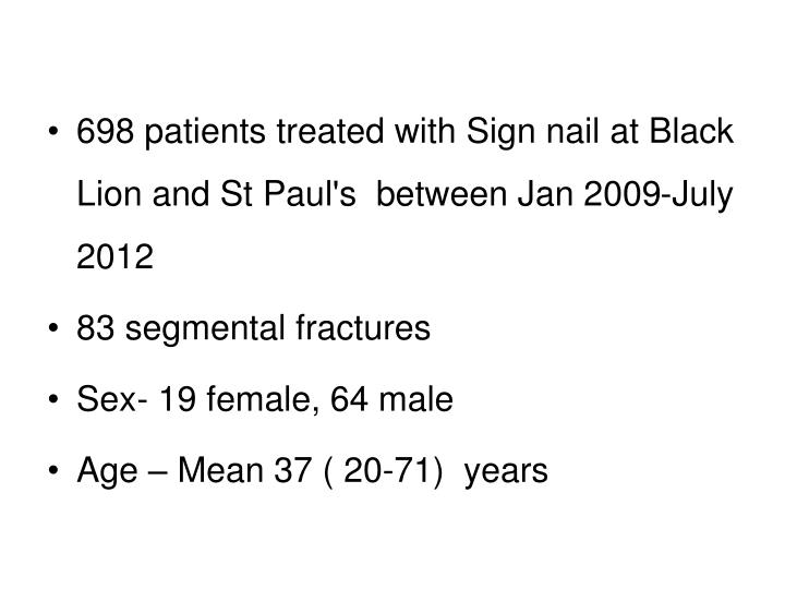 698 patients treated with Sign nail at Black Lion and St Paul's  between Jan 2009-July 2012
