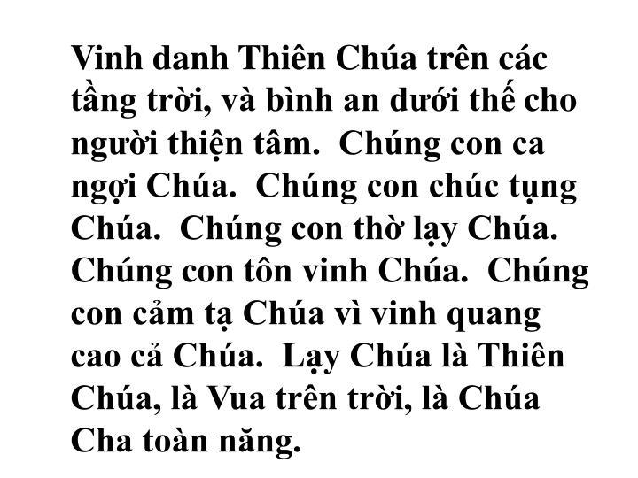 Vinh danh Thin Cha trn cc tng tri, v bnh an di th
