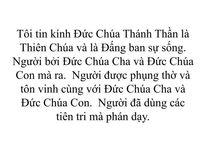 Ti tin knh c Cha Thnh Thn l Thin Cha v l ng ban s sng.  Ngi bi c Cha Cha v c Cha Con m ra.  Ngi c phng th v tn vinh cng vi c Cha Cha v c Cha Con.  Ngi  dng cc tin tri m phn dy.