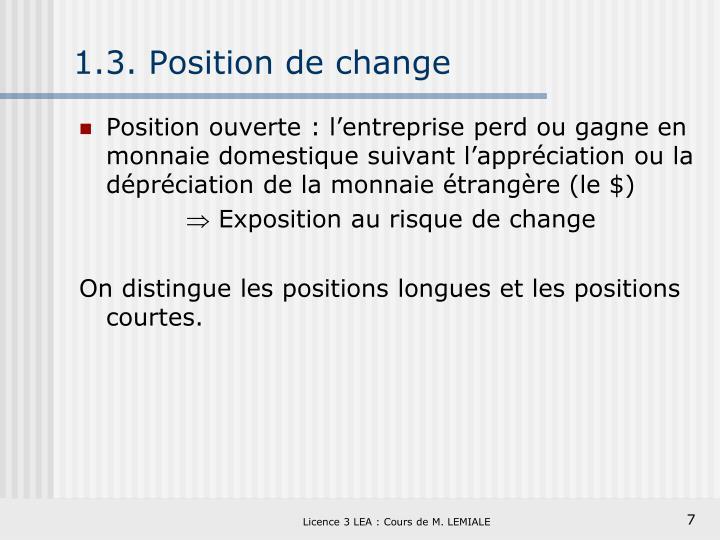 1.3. Position de change