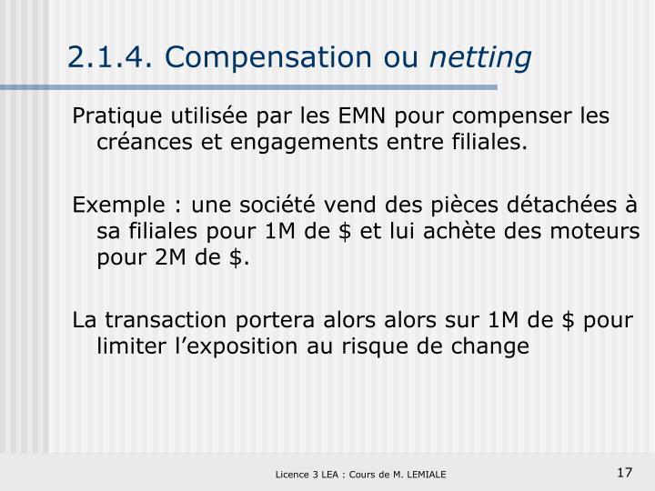 2.1.4. Compensation ou