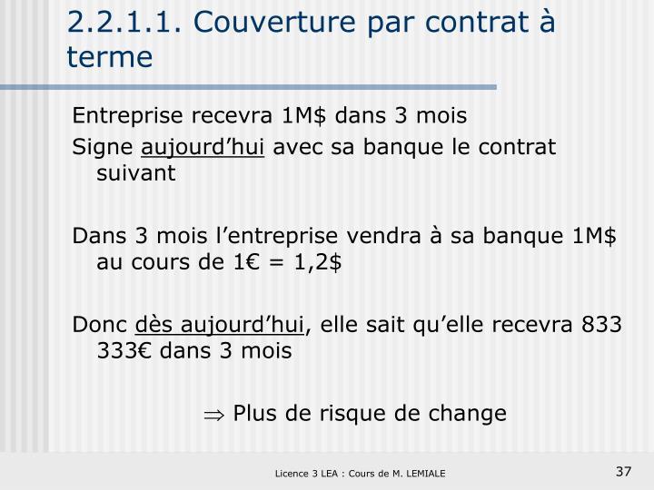 2.2.1.1. Couverture par contrat à terme