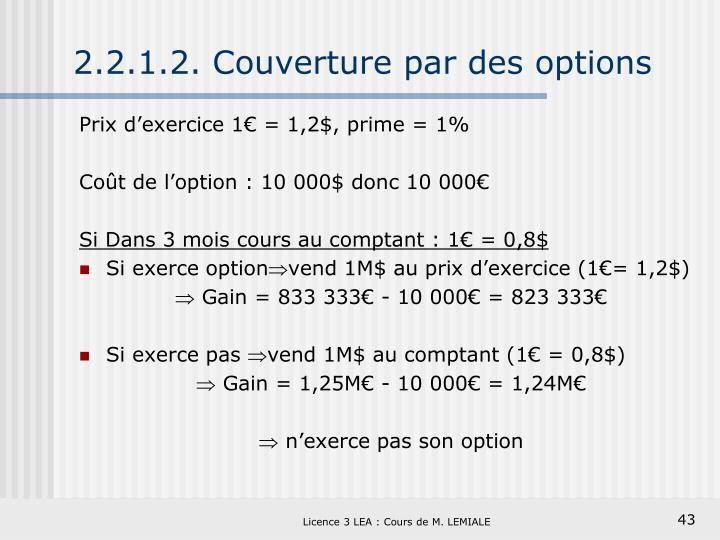 2.2.1.2. Couverture par des options