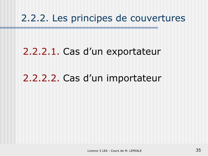 2.2.2. Les principes de couvertures