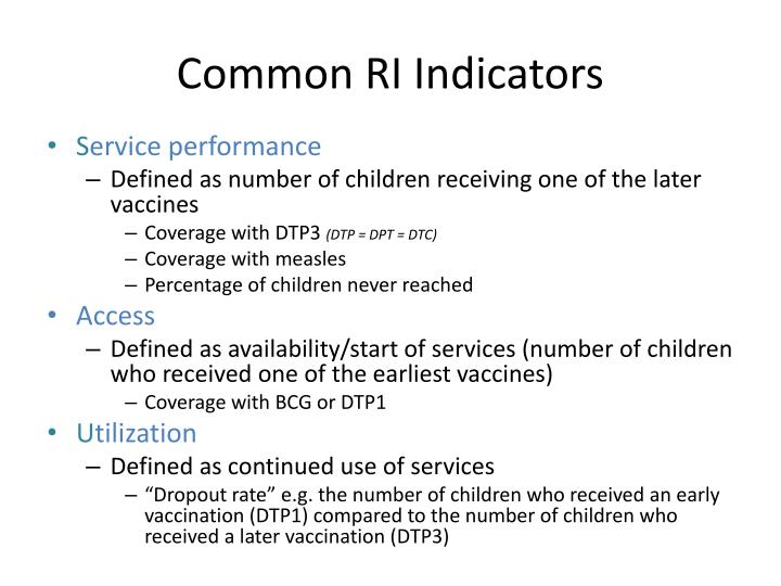 Common RI Indicators