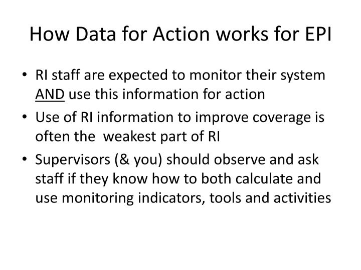 How Data for Action works for EPI