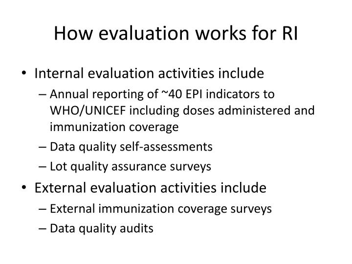 How evaluation works for RI