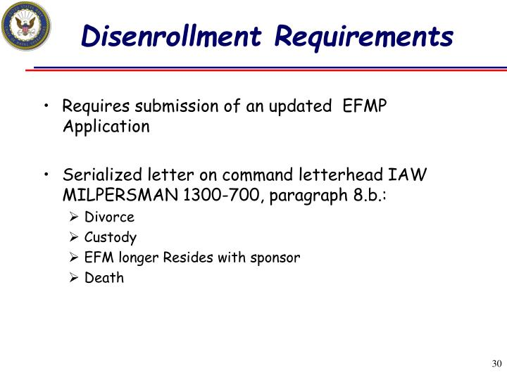 Disenrollment Requirements