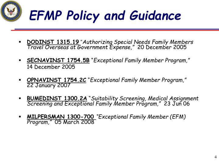 EFMP Policy and Guidance