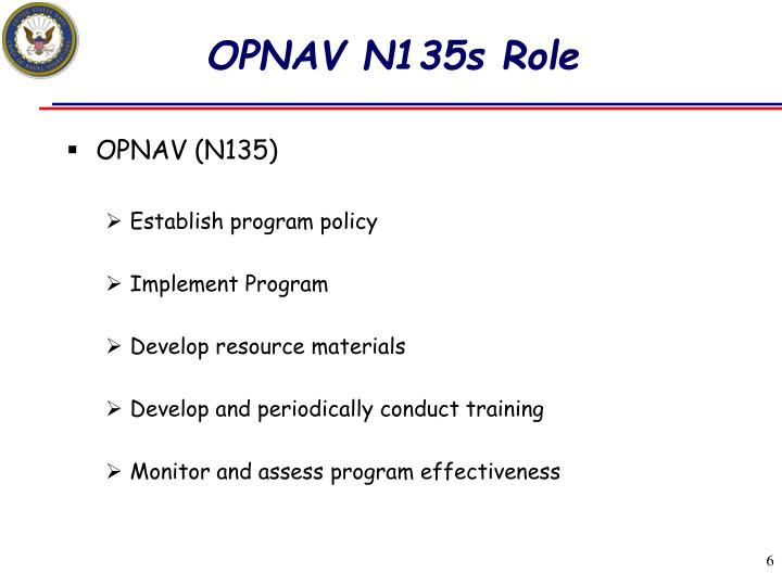 OPNAV N135s Role