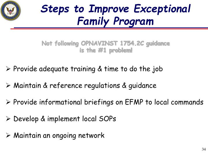 Steps to Improve Exceptional Family Program
