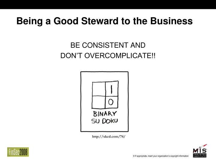 Being a Good Steward to the Business