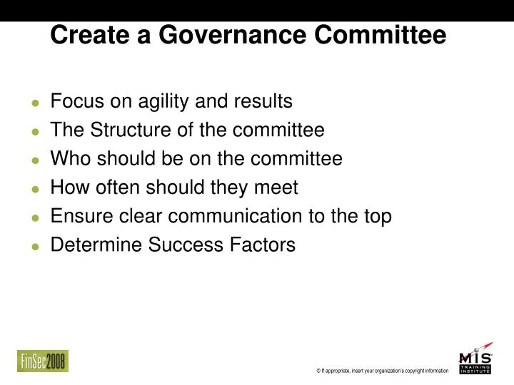 Create a Governance Committee