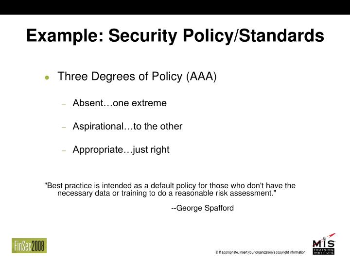 Example: Security Policy/Standards
