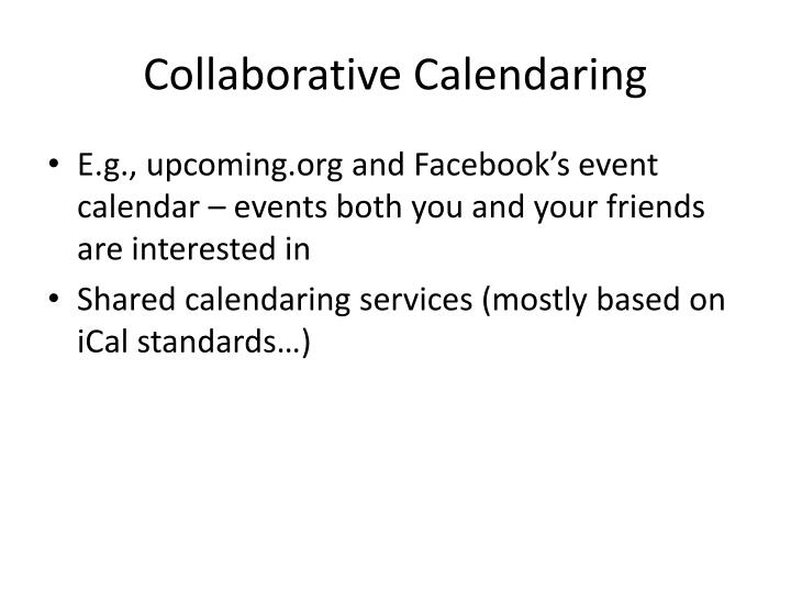 Collaborative Calendaring