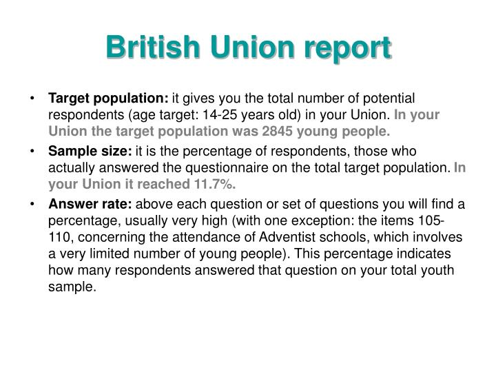British Union report