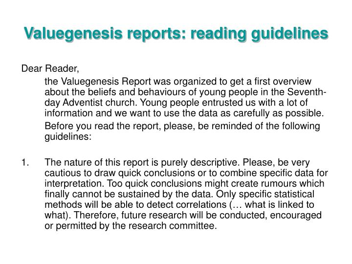 Valuegenesis reports: reading guidelines
