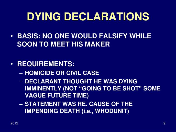 DYING DECLARATIONS
