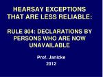 hearsay exceptions that are less reliable rule 804 declarations by persons who are now unavailable