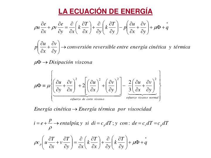 LA ECUACIN DE ENERGA