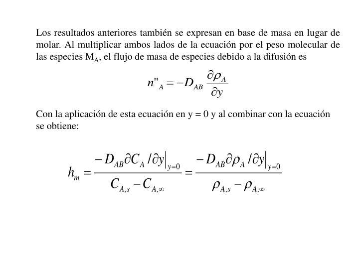 Los resultados anteriores tambin se expresan en base de masa en lugar de molar. Al multiplicar ambos lados de la ecuacin por el peso molecular de las especies M