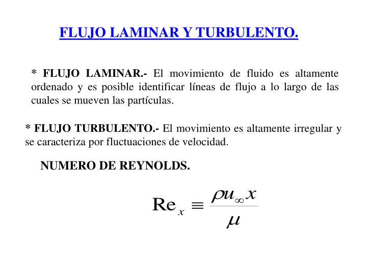 FLUJO LAMINAR Y TURBULENTO.