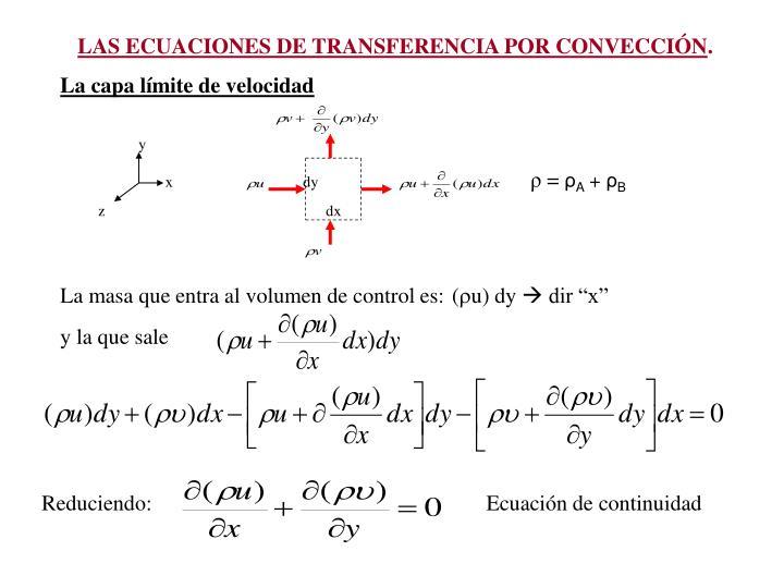 LAS ECUACIONES DE TRANSFERENCIA POR CONVECCIN