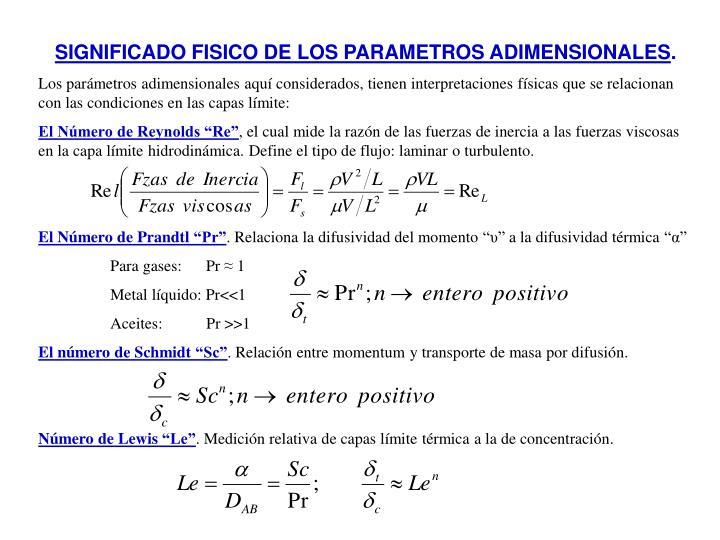 SIGNIFICADO FISICO DE LOS PARAMETROS ADIMENSIONALES