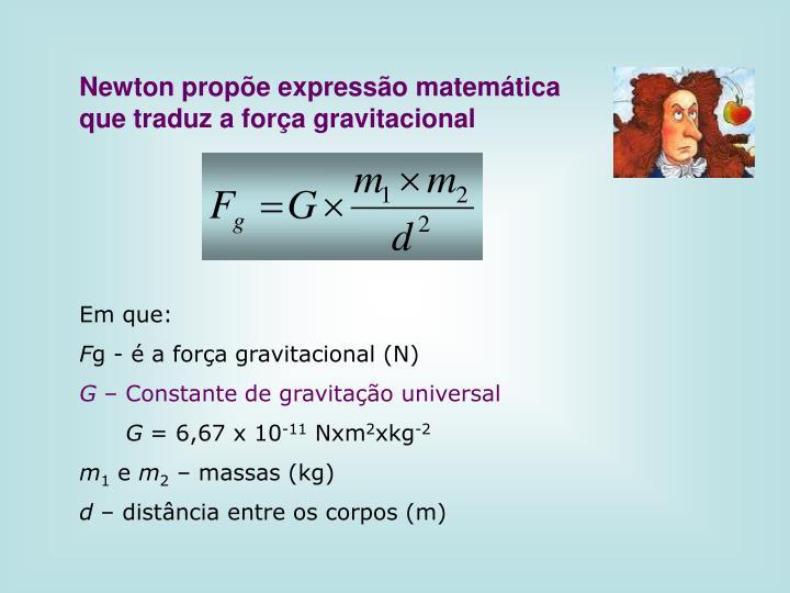 Newton propõe expressão matemática que traduz a força gravitacional