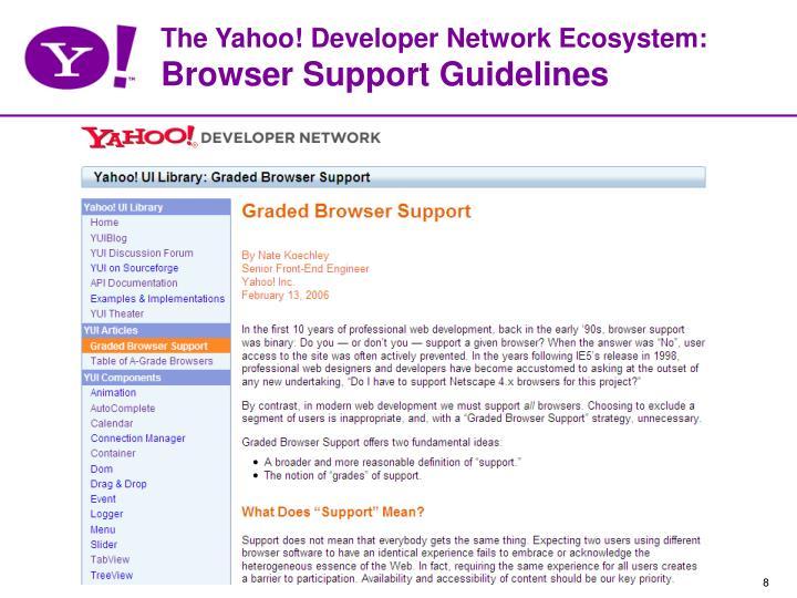 The Yahoo! Developer Network Ecosystem: