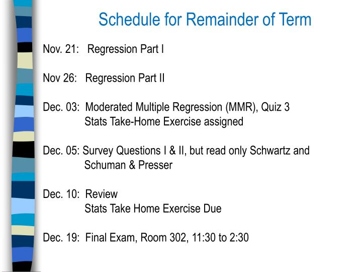 Schedule for Remainder of Term