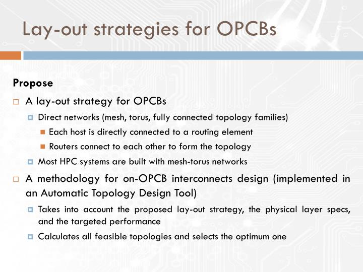 Lay-out strategies for OPCBs