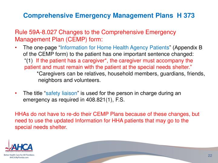 Comprehensive Emergency Management Plans  H 373