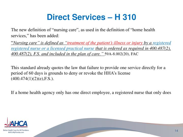 Direct Services – H 310