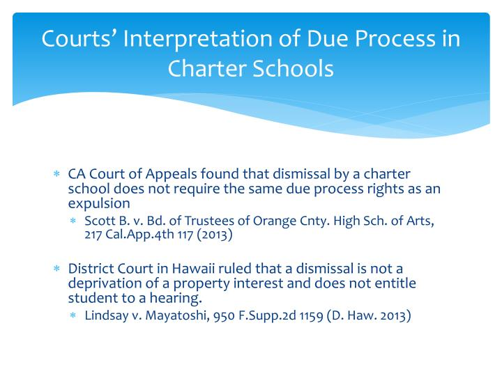 Courts' Interpretation of Due Process in Charter Schools